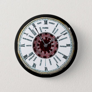 Vintage time zone watch 6 cm round badge