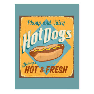 Vintage tin sign - Hot Dogs Postcard