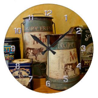 Vintage Tins and Jugs Clock
