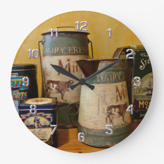 Vintage Tins and Jugs Large Clock