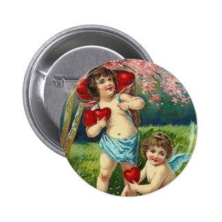 Vintage To My Valentine 2 Cupids 6 Cm Round Badge
