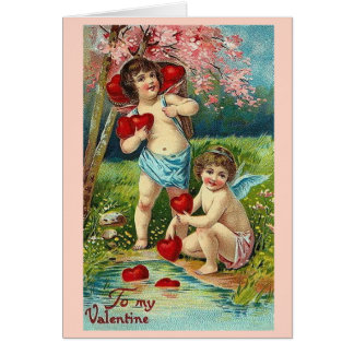 Vintage To My Valentine 2 Cupids Card