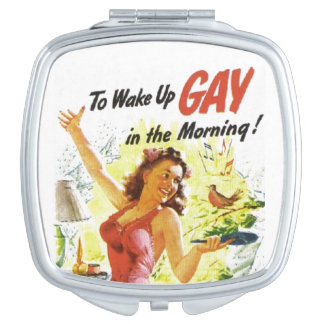 """Vintage """"To Wake Up Gay"""" Mirrors For Makeup"""