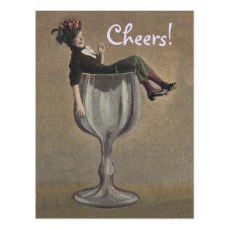 Vintage Toast Cheers! Lady in Wine Glass Postcard