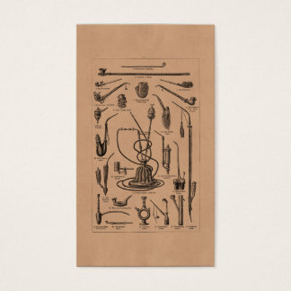 Vintage Tobacco Pipes and Old Hookah Illustration Business Card