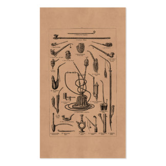 Vintage Tobacco Pipes and Old Hookah Illustration Business Card Template