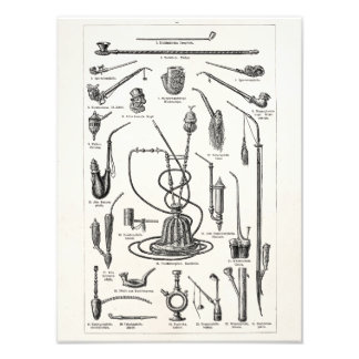 Vintage Tobacco Pipes and Old Hookah Illustration Photo Print