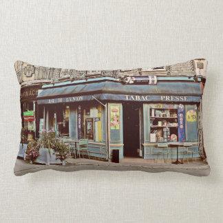 Vintage tobacco shop in France Lumbar Cushion