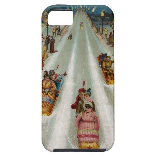 Vintage Toboggans On a winter night iPhone 5 Cases
