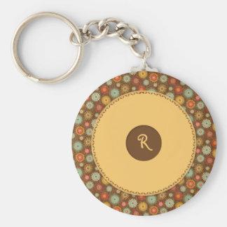 Vintage Tones Floral Pattern Basic Round Button Key Ring