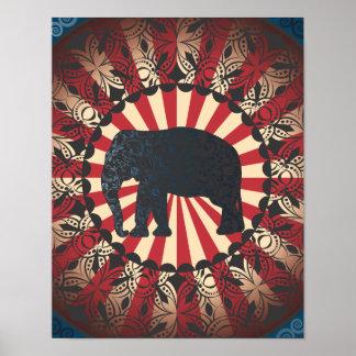 Vintage Too Circus Elephant Free Mandarin Poster