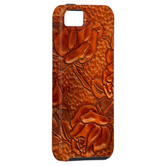 Vintage Tooled Western Leather Roses Case For The iPhone 5