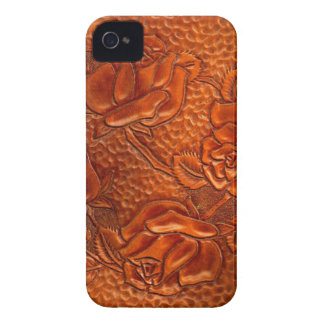 Vintage Tooled Western Leather Roses Case-Mate iPhone 4 Case
