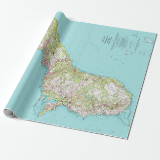 Vintage Topographical Map of Guam Wrapping Paper