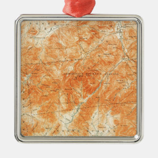 Vintage Topographical Mount Marcy New York Map Silver-Colored Square Decoration