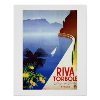 Vintage Torbole Riva Lake Garda Italian travel Poster