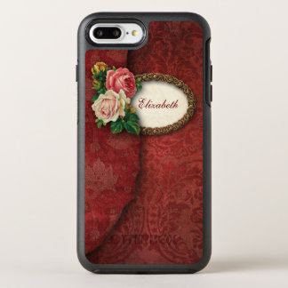 Vintage Torn Red Damask and Roses OtterBox Symmetry iPhone 8 Plus/7 Plus Case