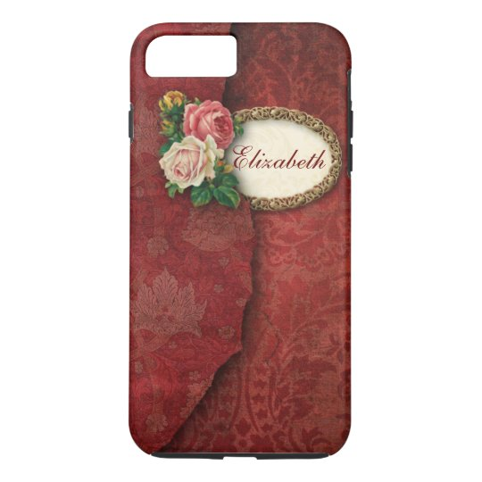 Vintage Torn Red Damask and Roses Personalised iPhone 7 Plus Case