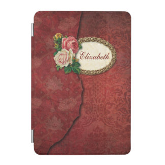 Vintage Torn Red Damask and Roses Personalized iPad Mini Cover