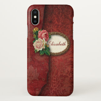 Vintage Torn Red Damask and Roses Personalized iPhone X Case