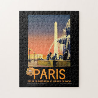 Vintage Tourism Travel Poster Paris Monuments Jigsaw Puzzle