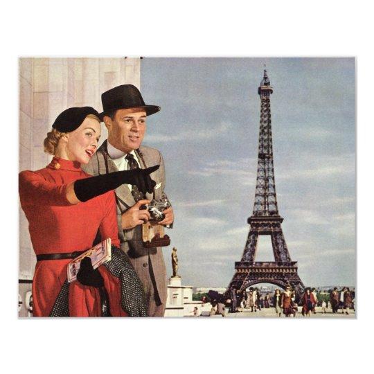 Vintage Tourists in Paris, Eiffel Tower Invitation