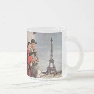 Vintage Tourists Traveling in Paris Eiffel Tower Frosted Glass Coffee Mug