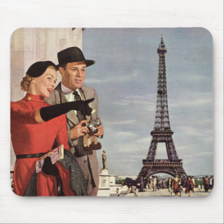 Vintage Tourists Traveling in Paris Eiffel Tower Mouse Pads