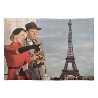Vintage Tourists Traveling in Paris Eiffel Tower Placemats
