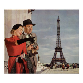 Vintage Tourists Traveling in Paris Eiffel Tower Poster