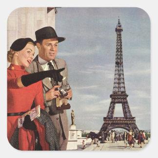 Vintage Tourists Traveling in Paris Eiffel Tower Square Sticker