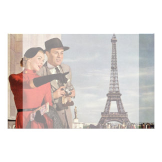 Vintage Tourists Traveling in Paris Eiffel Tower Stationery