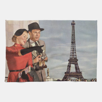 Vintage Tourists Traveling in Paris Eiffel Tower Tea Towel