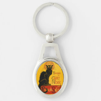 Vintage Tournée Du Chat Noir Theophile Steinlen Silver-Colored Oval Metal Keychain