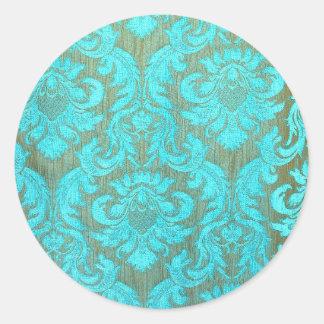 Vintage tourquise gold damask victorian pattern round sticker