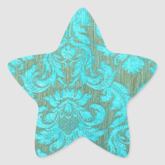 Vintage tourquise gold damask victorian pattern star sticker
