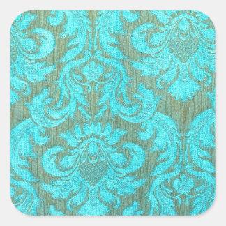 Vintage tourquise gold damask victorian pattern square sticker
