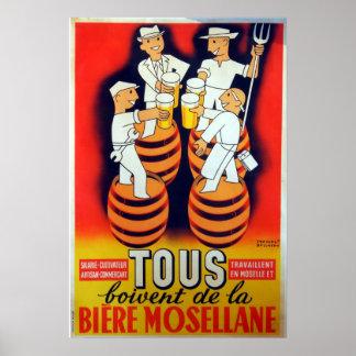 Vintage Tous Boivent de la Bière Mosellane Poster