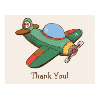 Vintage Toy Airplane Thank You Postcard
