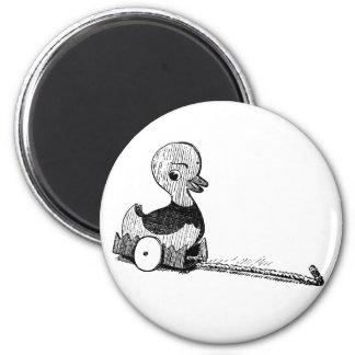 Vintage Toy Duck 6 Cm Round Magnet
