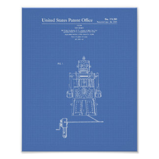 Vintage Toy Robot 1955 Patent Art Blueprint Poster