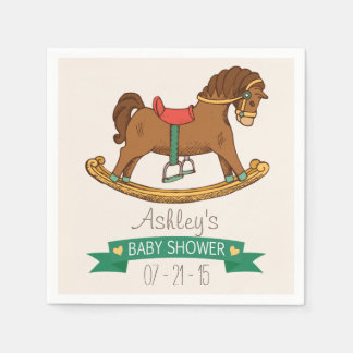 Vintage Toy Rocking Horse Baby Shower Paper Napkins