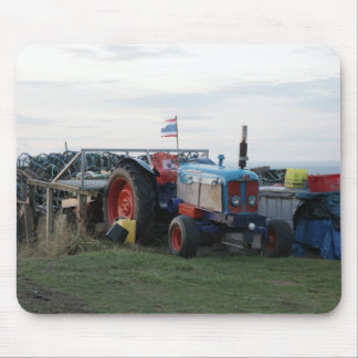 vintage tractor and flag mouse mat