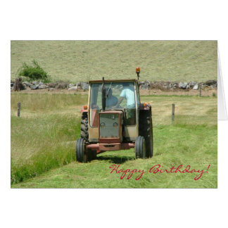 Vintage tractor birthday card