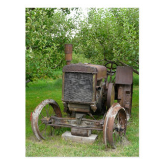Vintage Tractor in Apple Orchard Postcard