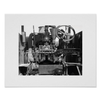 Vintage Tractor Photo in Black and White Poster