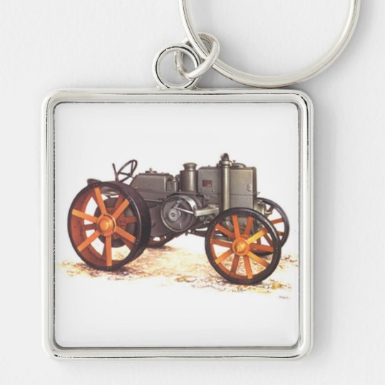 Vintage Tractor Silver-Colored Square Key Ring