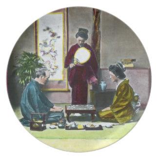Vintage Traditional Japanese Mahjong 麻雀 Plate