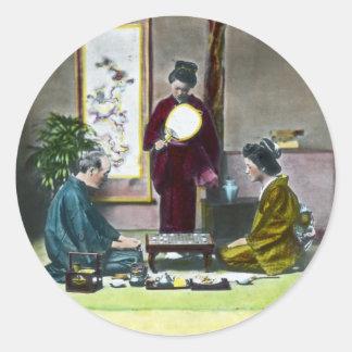 Vintage Traditional Japanese Mahjong 麻雀 Round Sticker