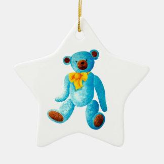 Vintage/Traditional Style Blue Painted Teddy Bear Christmas Ornament
